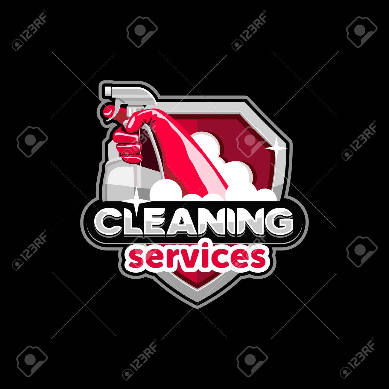 logo house cleaning service, vector - 65001845