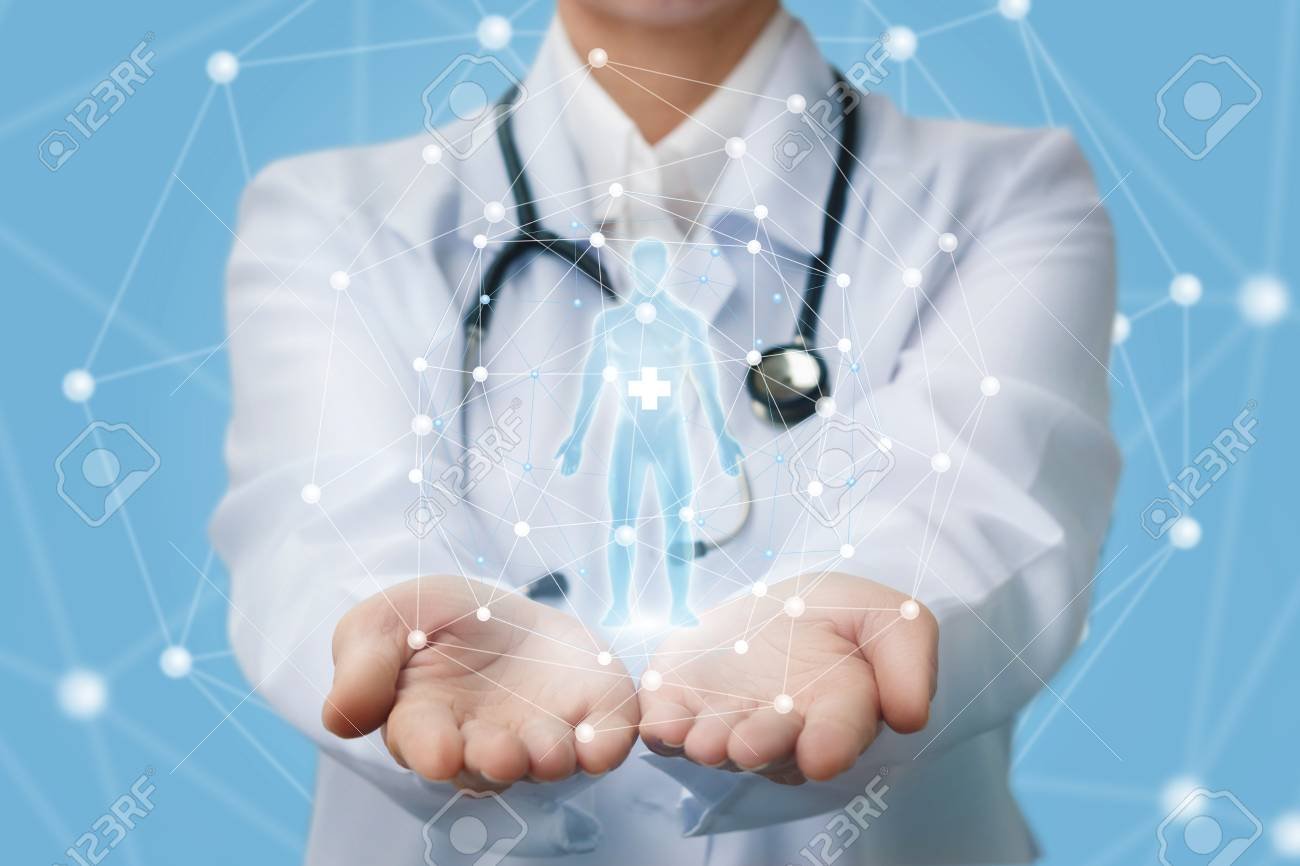 Doctor shows a hologram of a person on a blue background. - 95750844