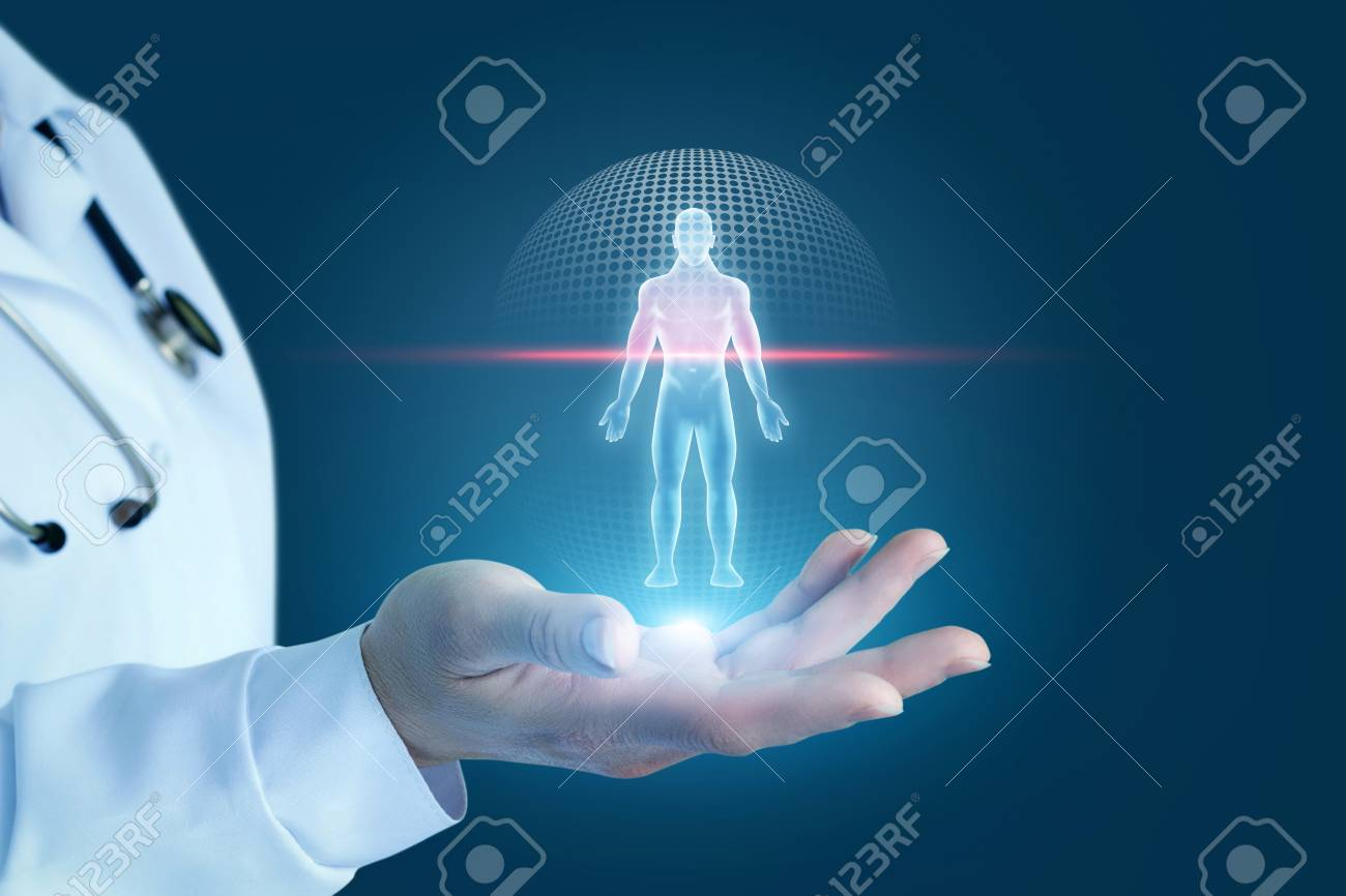 Doctor shows the process of scanning a patient on a blue background. - 96275115