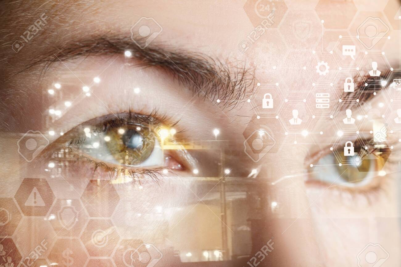 A closeup of a human female eyes with comb cyber security system structure. The concept of data and digital protection and security. - 122305848