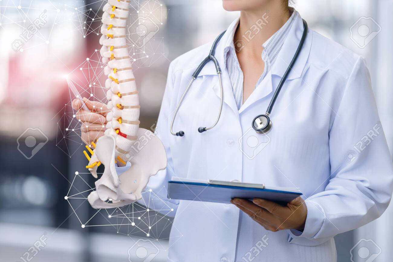 A medical worker shows the spine on blurred background. - 124389556