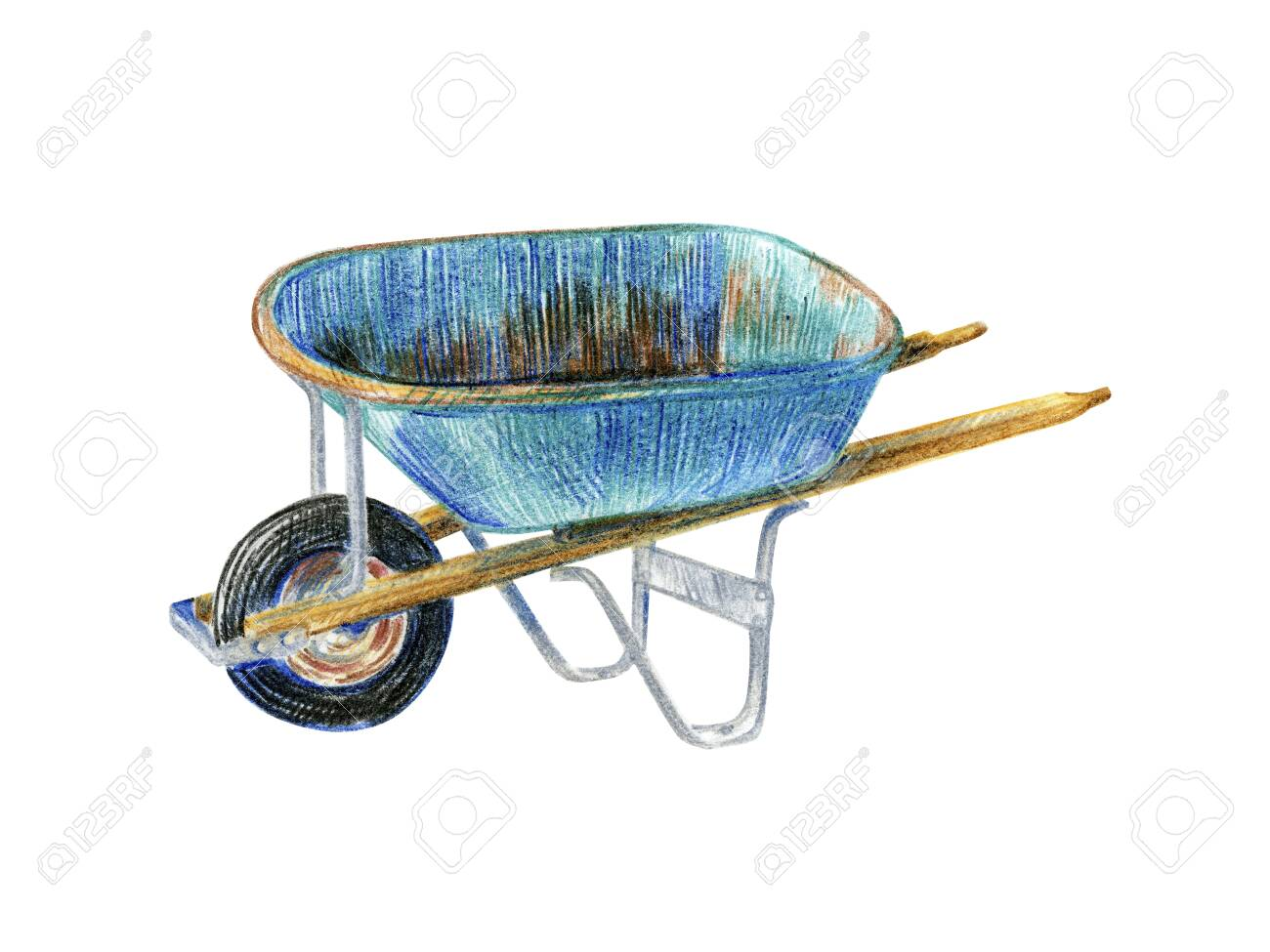 vintage wheelbarrow for gardening pencil sketch stock photo picture and royalty free image image 144150901