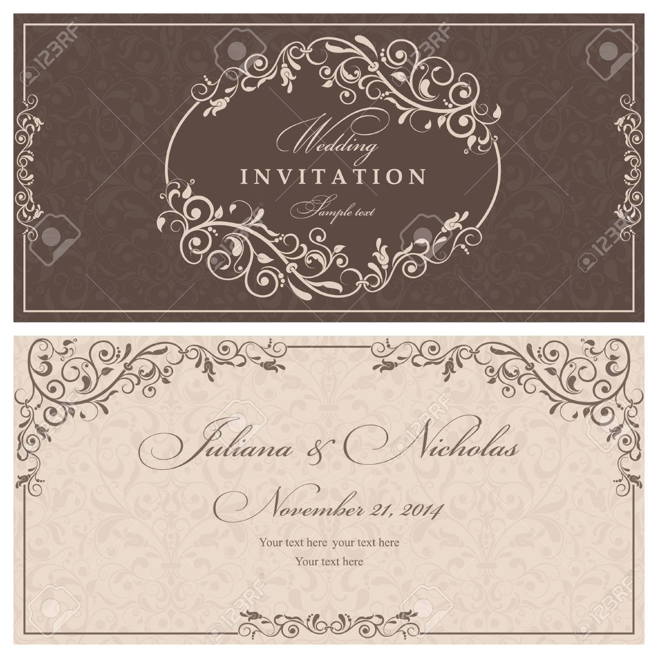 Invitation Cards In An Old-style Brown And Beige Royalty Free ...