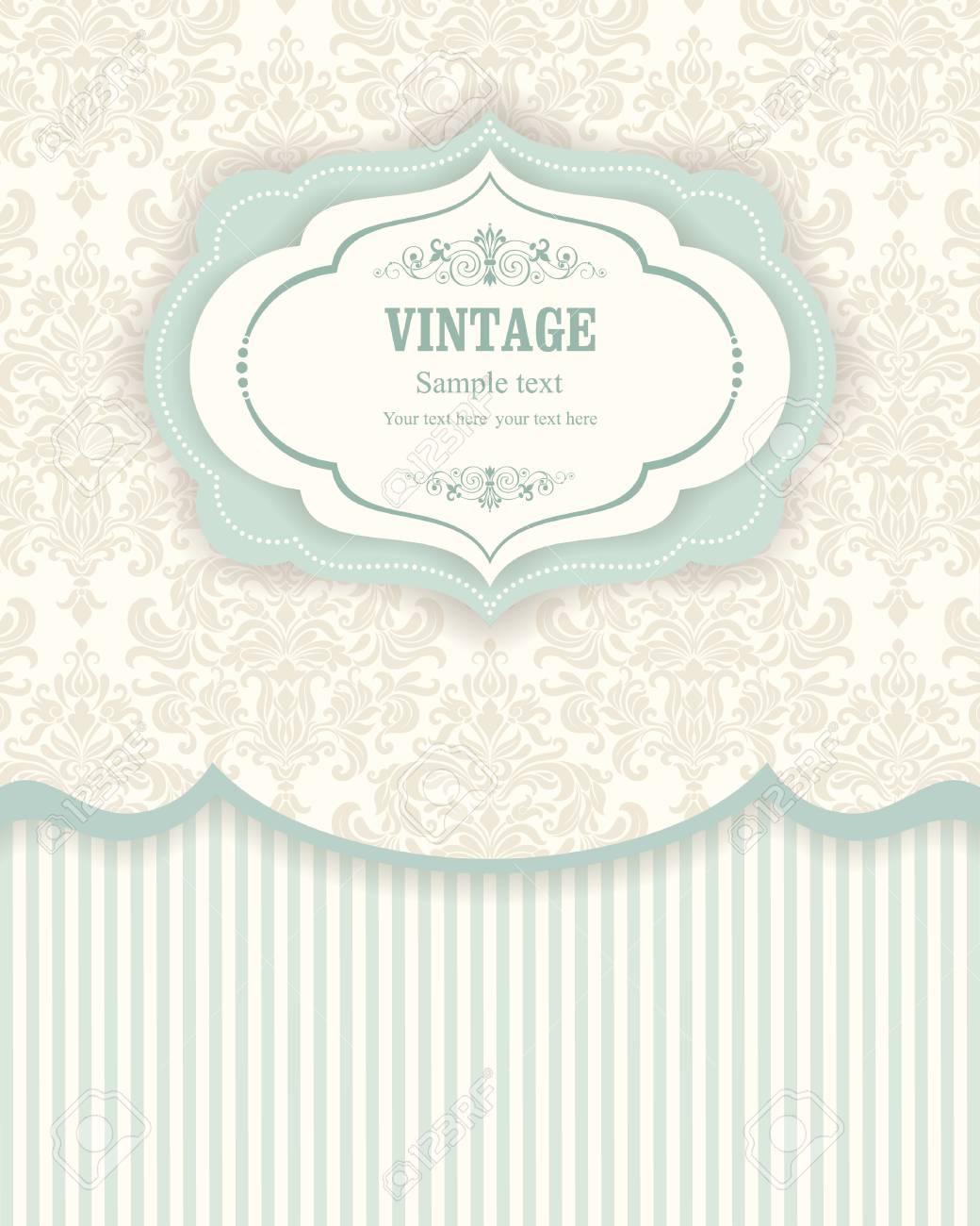 Fantastisch Einladungskarten In Einem Vintage Stil Beige Und Grün Standard Bild    67876081