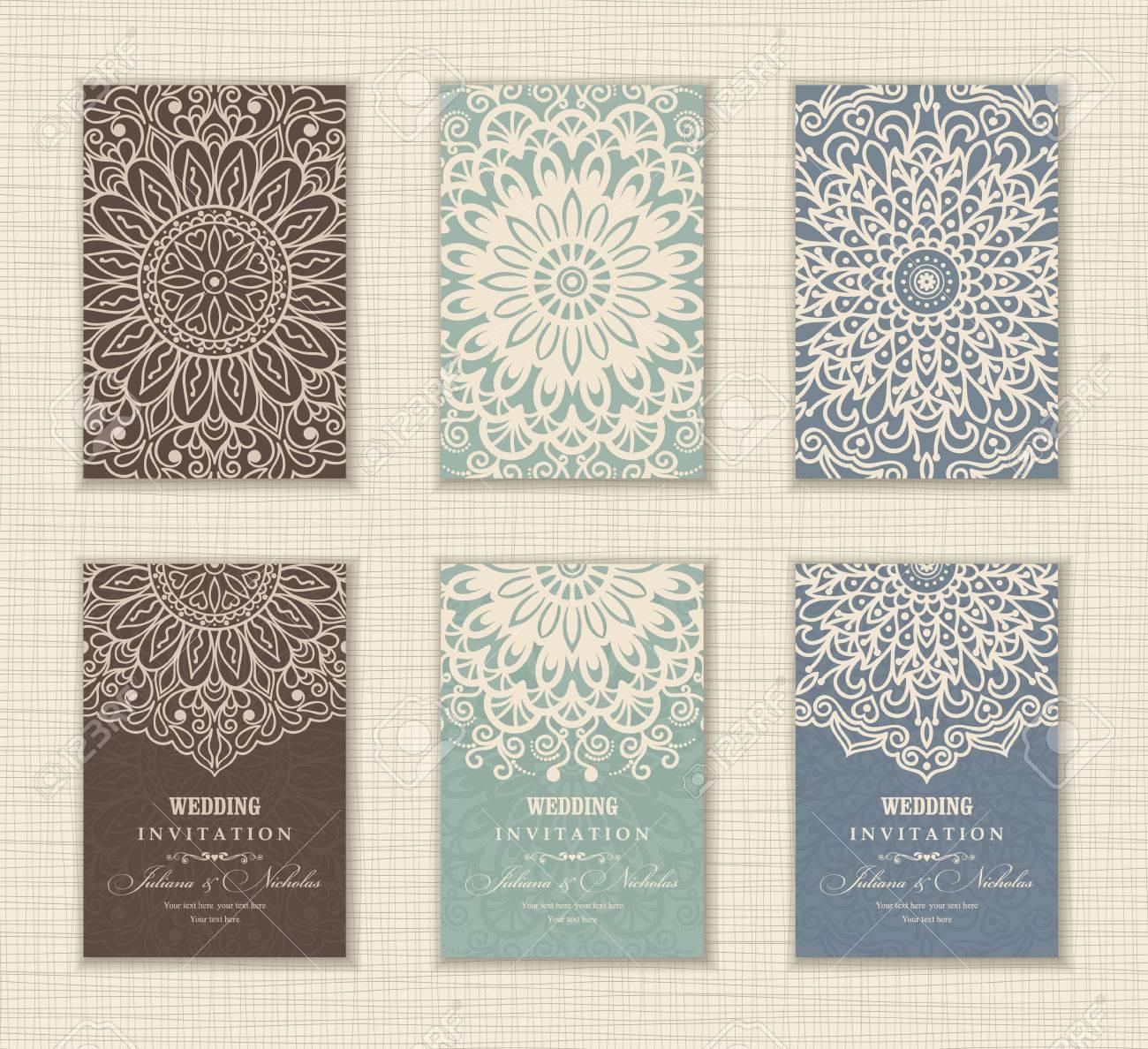 Wedding Invitation Card Arabic, Mandala, Blue, Green And Brown ...