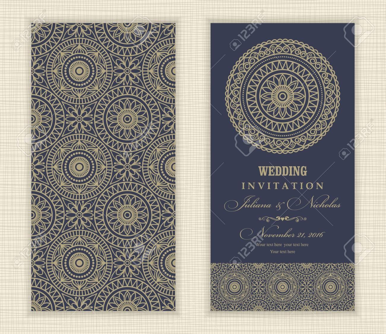 Tarjeta De Invitación De Boda árabe Mandala Azul Y Oro