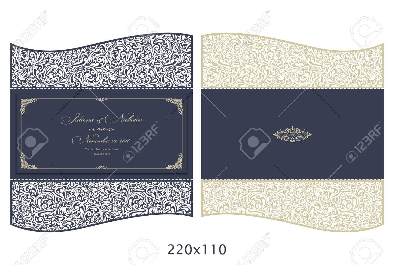 Wedding Invitation Baroque Template For Laser Cutting Open
