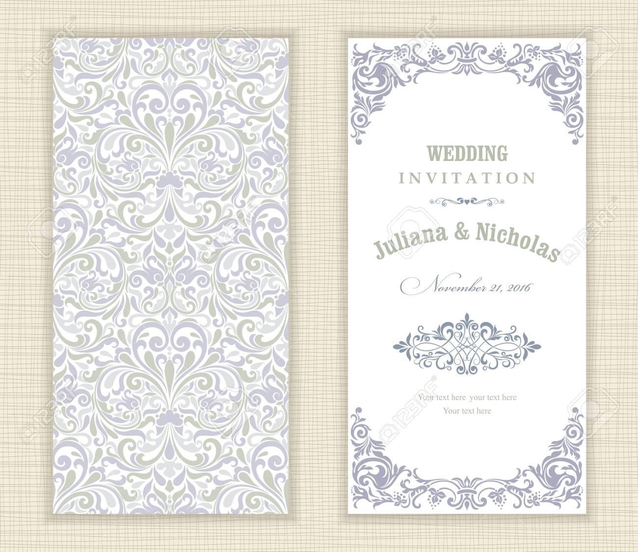 Tarjetas De Invitación De Boda En Un Estilo Vintage Azul Y Verde