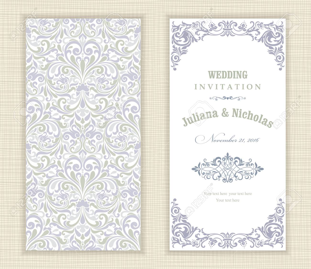 Vector   Wedding Invitation Cards In An Vintage Style Blue And Green.
