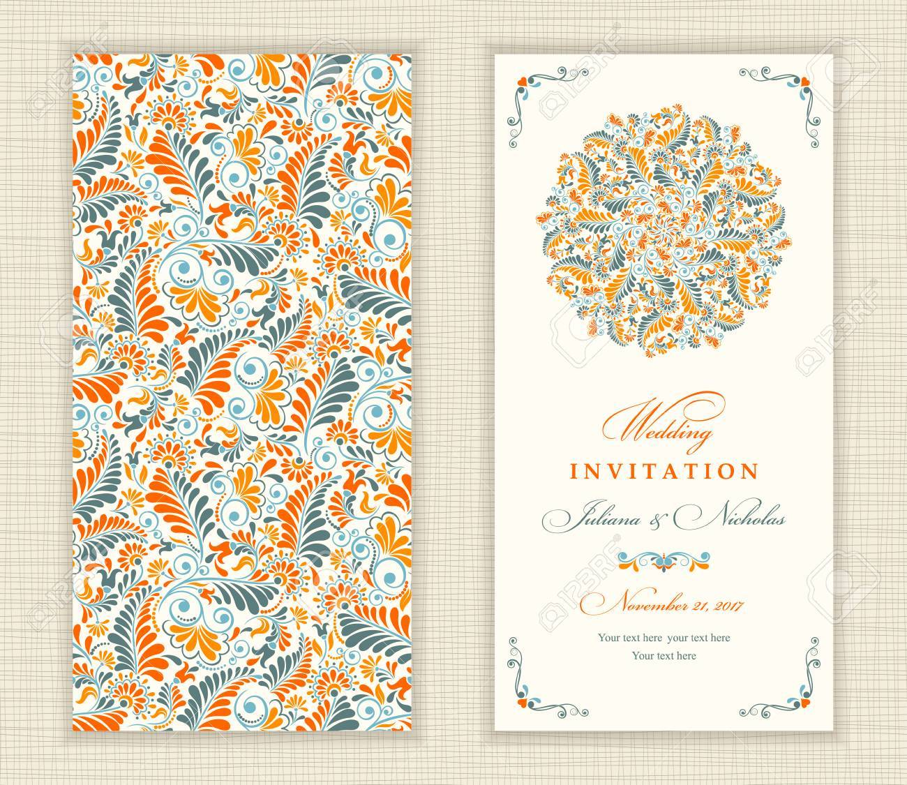 Wedding Invitation Card Ethnic Style The Front And Rear Side Summer Pattern Of Flowers And Leaves