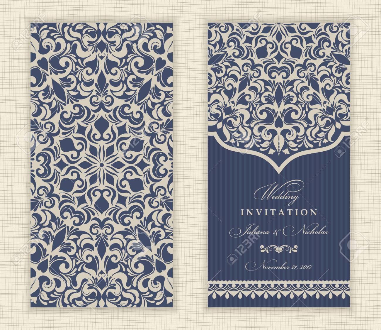 Set Vintage-Hochzeit Einladungskarte Mit Mandala-Muster. Die ...