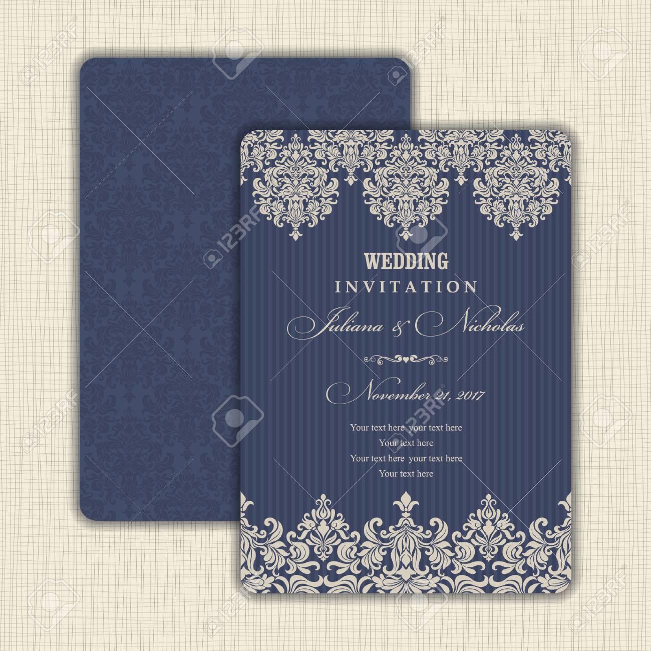 Hochzeitseinladung Mit Barockem Muster. Größe: 5 \