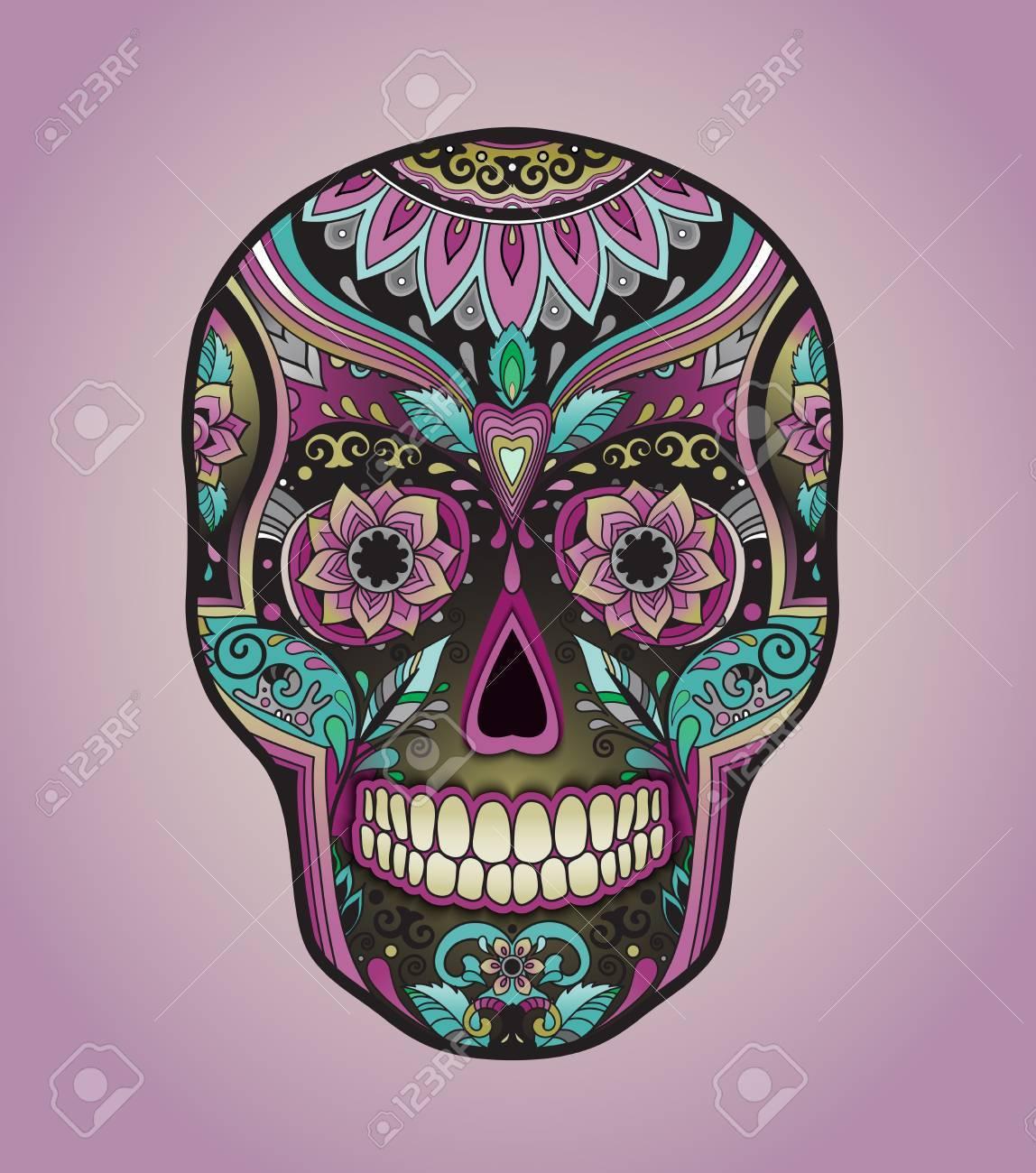 Schön Mexikanischer Totenkopf Beste Wahl Drucken Traditioneller Für T-shirt Mit Floralem Ornament