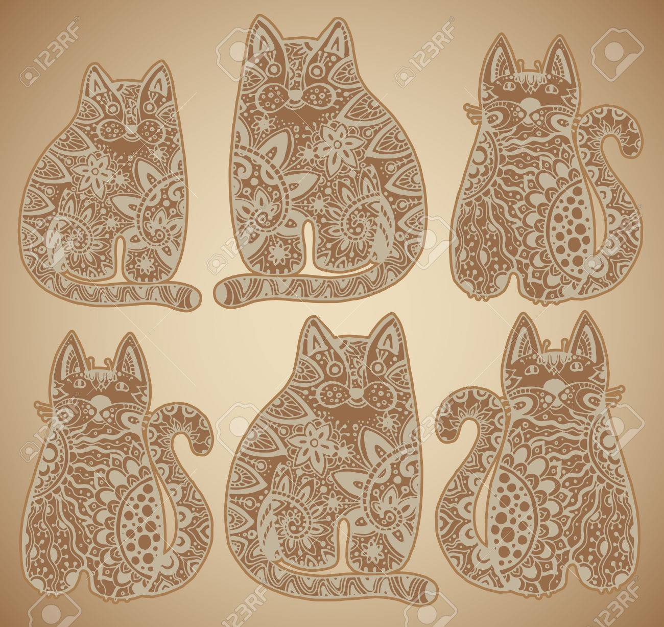 Vector Funny Cats With Floral Ornament Royalty Free Cliparts