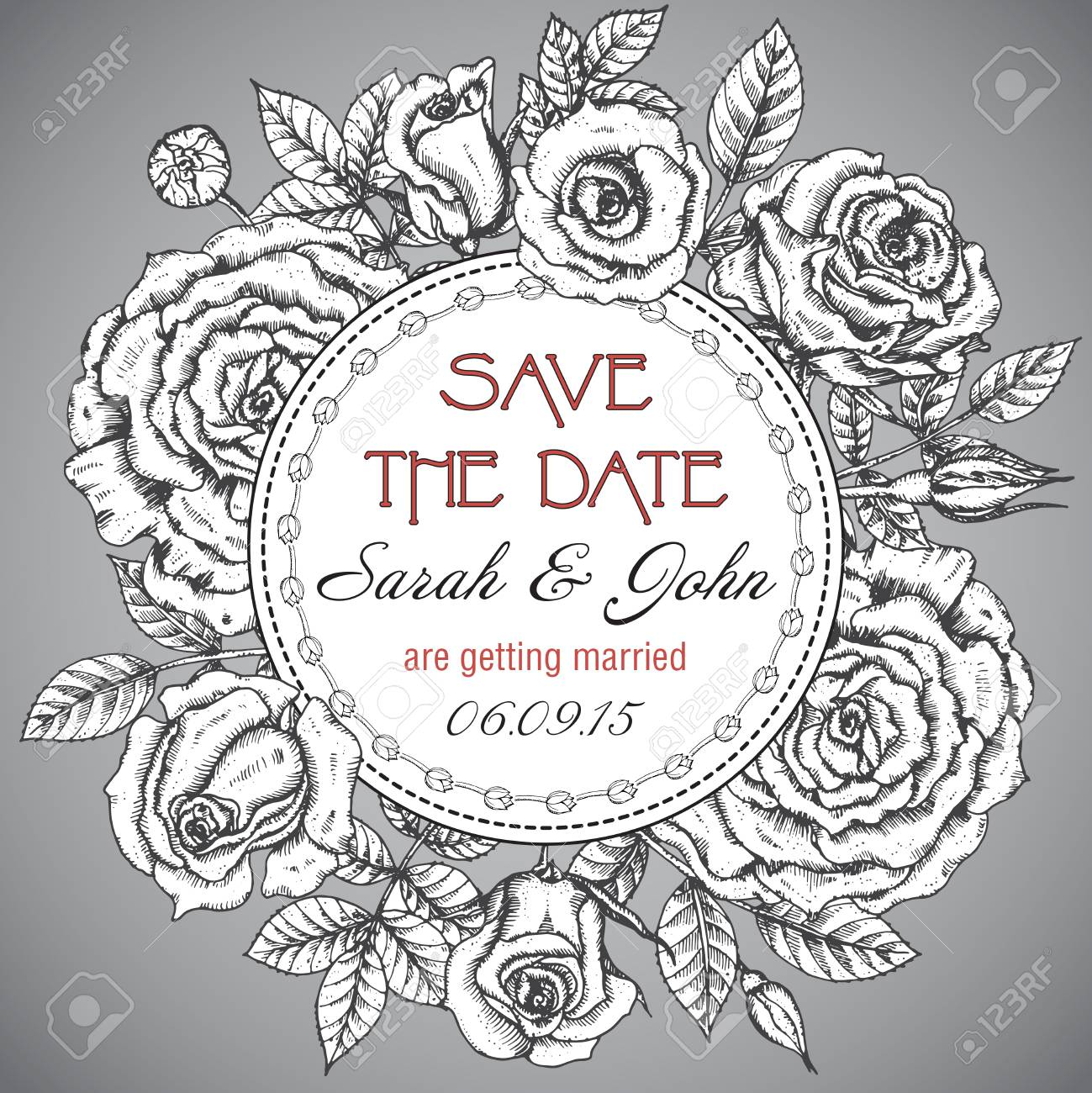 Vintage Elegant Wedding Invitation Or Card Save The Date With ...