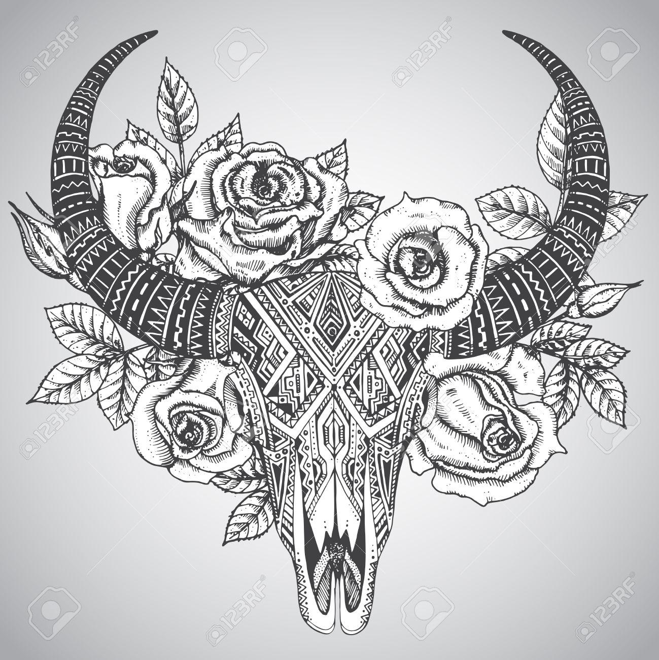 Decoratif Indien Crane De Taureau Dans Tatouage Style Tribal Avec