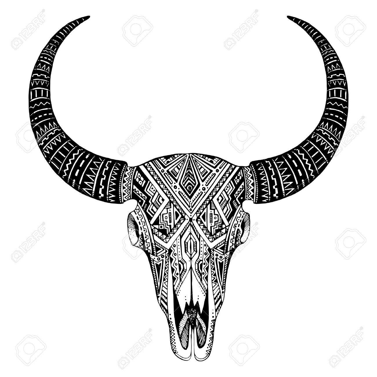 Decoratif Indien Crane De Taureau Dans Tatouage Style Tribal Tire