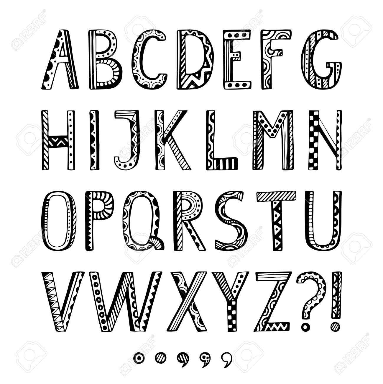 Fantasy Hand Drawn Font In Doodle Style Vector Letters Set Collection Ornamental Alphabet Stock