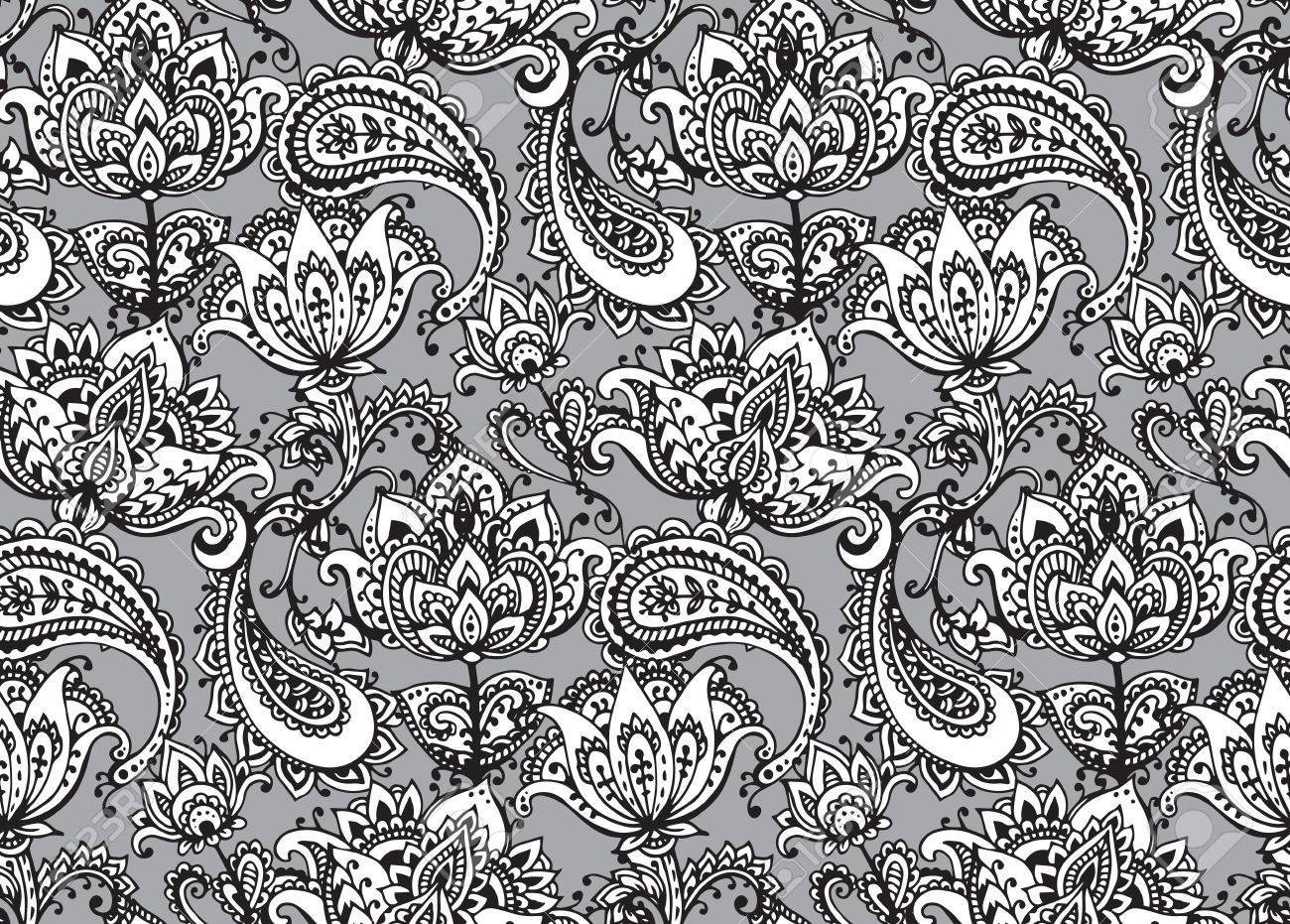 Henna Mehndi Vector : Vector seamless pattern with hand drawn henna mehndi design floral