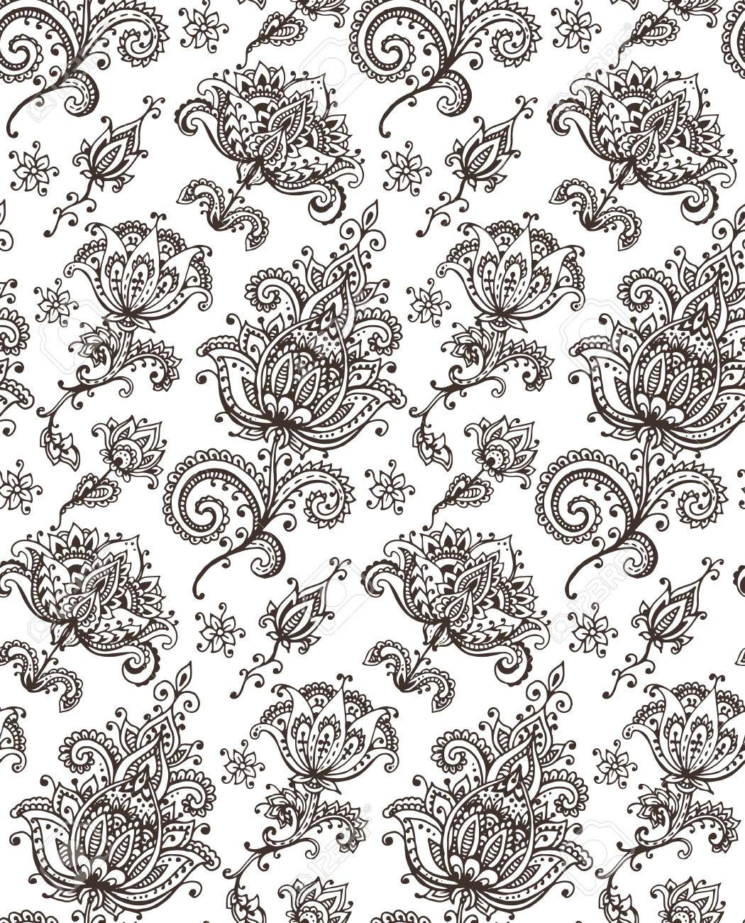 vector seamless pattern with hand drawn henna mehndi design floral