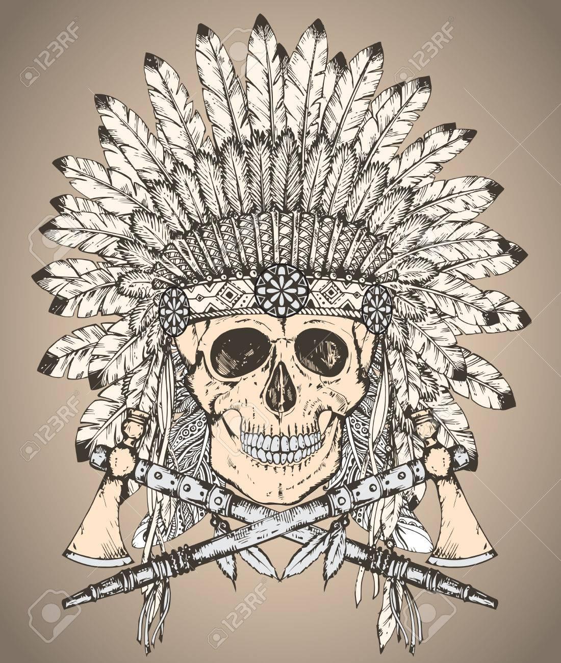 Foto de archivo - Mano vector dibujado de tocado de indio nativo americano  con cráneo humano y dos hachas de guerra en el estilo de dibujo. 20d4eb629dc