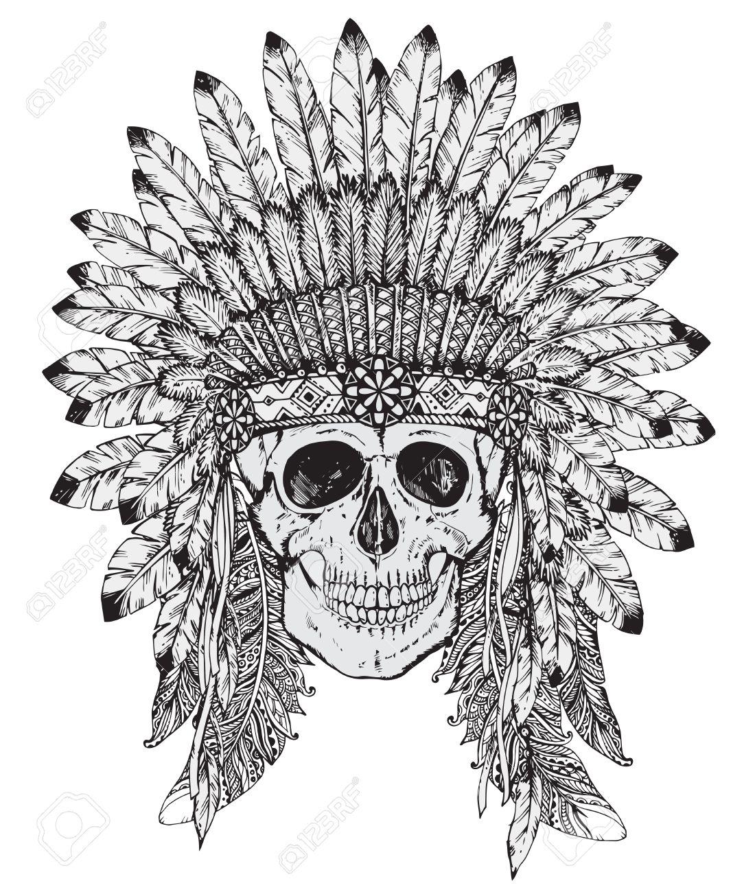 Foto de archivo - Mano ilustración vectorial dibujado de Native tocado de  indio americano con el cráneo humano en el estilo de dibujo. 3a3d42b4c52