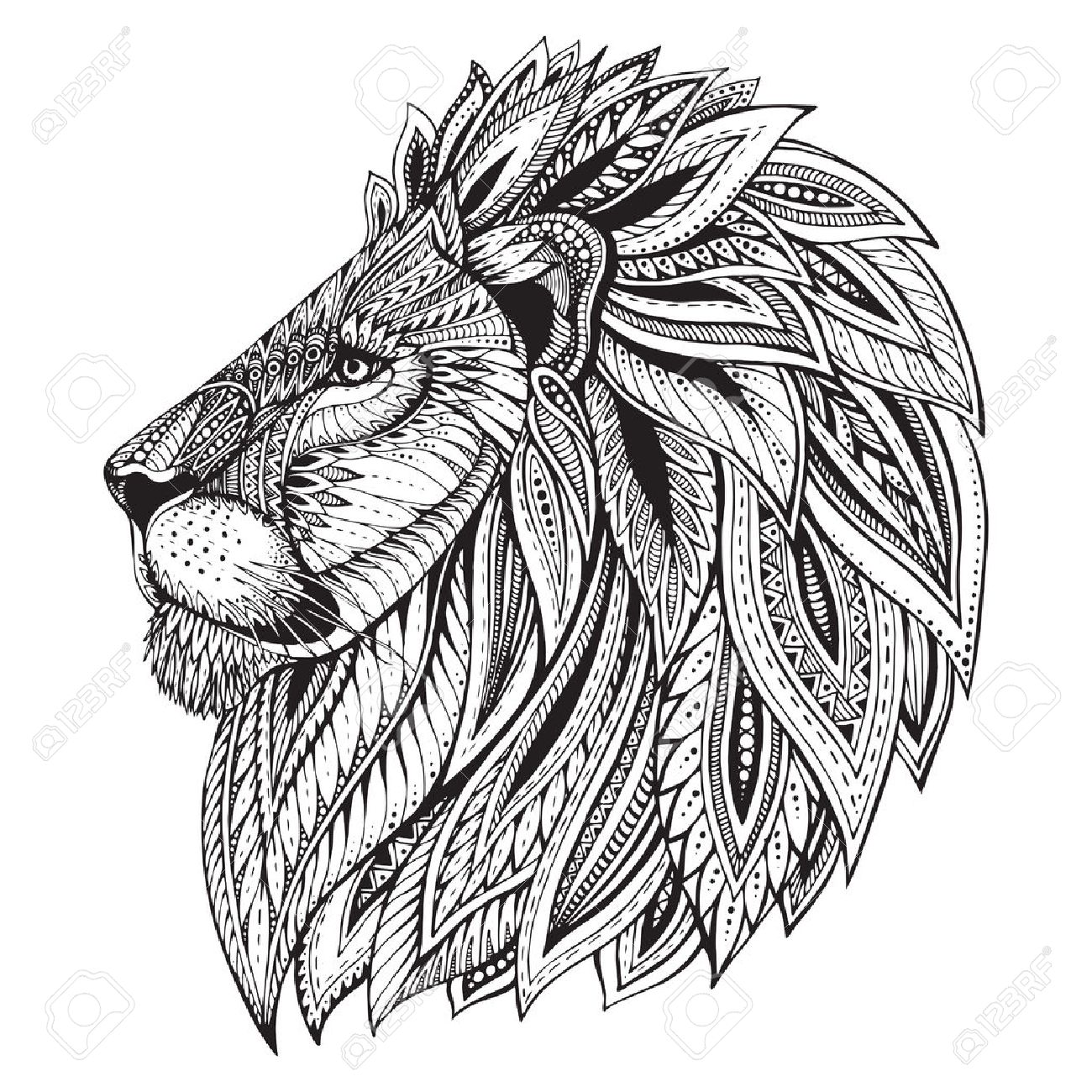 Ethnic patterned ornate head of Lion. Black and white doodle illustration. Sketch for tattoo, poster, print or t-shirt. - 51061654