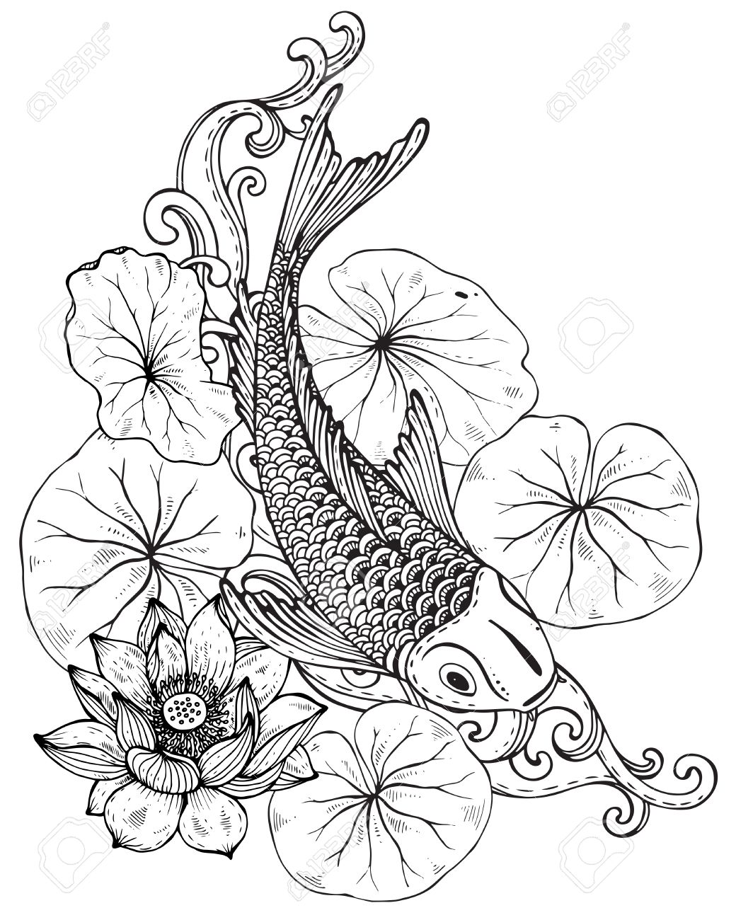 9ea2a730c465e Hand drawn vector illustration of Koi fish (Japanese carp) with lotus  leaves and flower. Symbol of love, friendship and prosperity. Black and  white image.