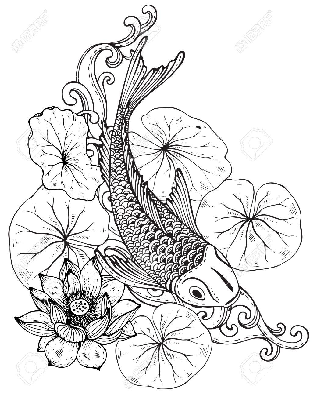 Mano Vector Dibujado La Ilustración De Los Peces Koi (carpa Japonesa ...