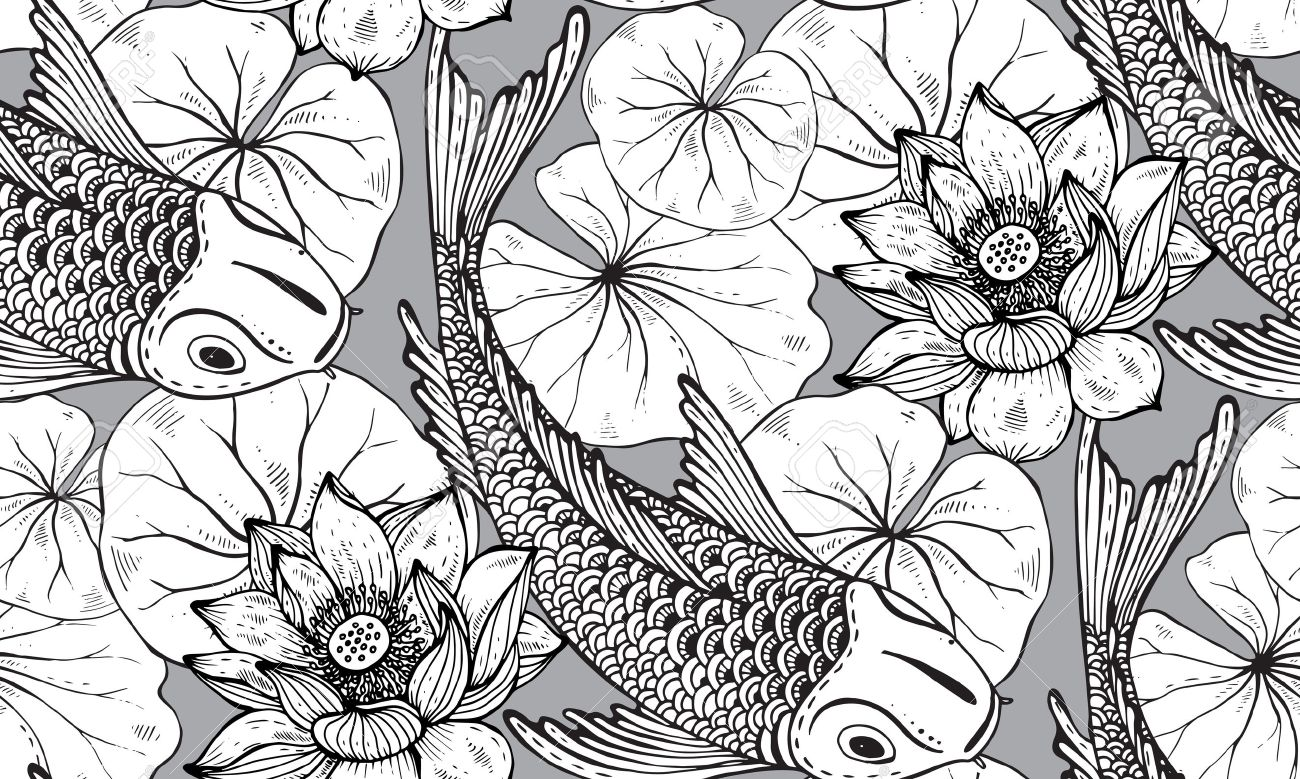 Seamless vector pattern with hand drawn Koi fish (Japanese carp), lotus leaves and flower. Symbol of love, friendship and prosperity. Black and white endless background - 53405814