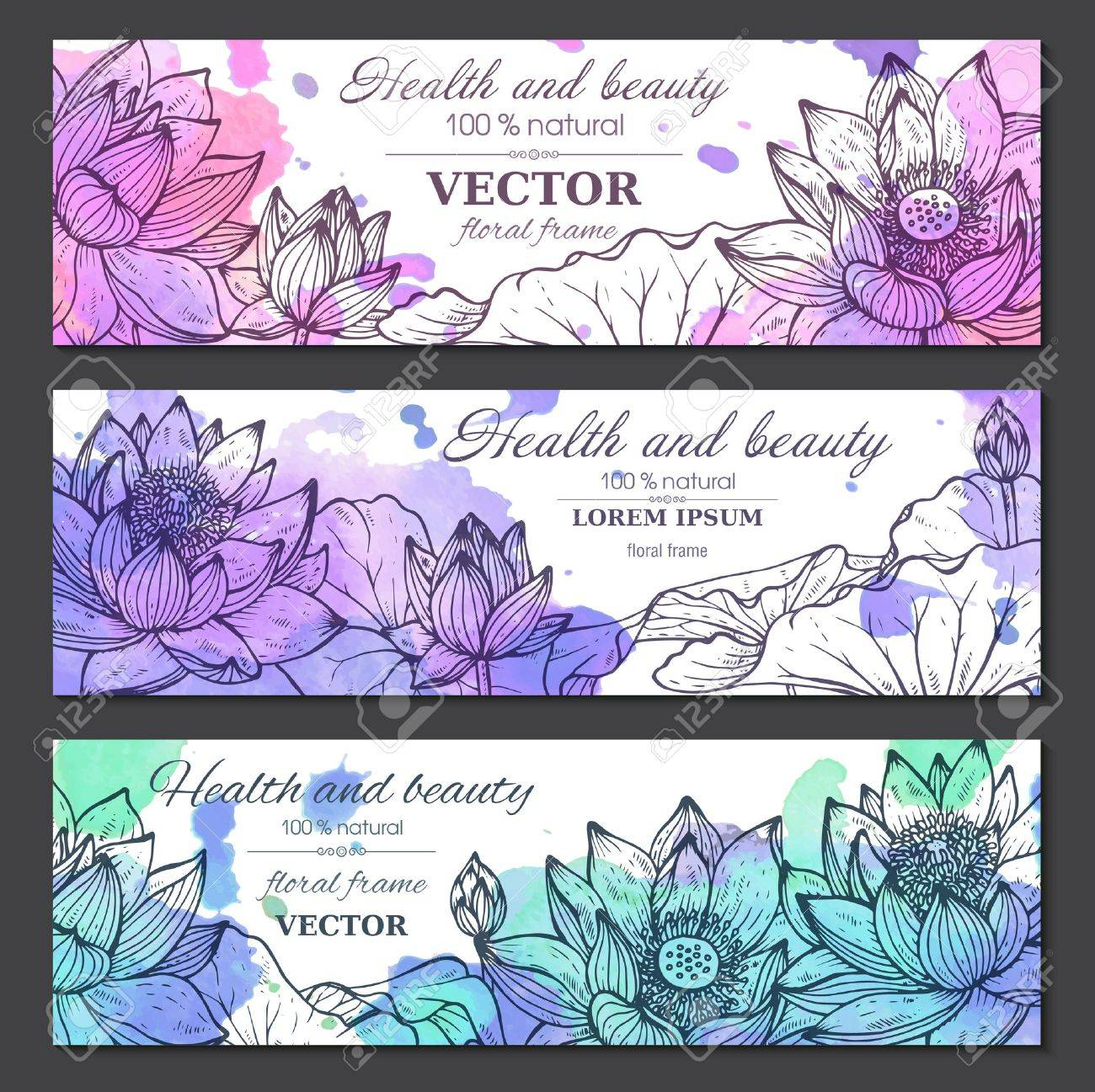 Set Of Three Horizontal Banners With Beautiful Lotus Flowers And ...