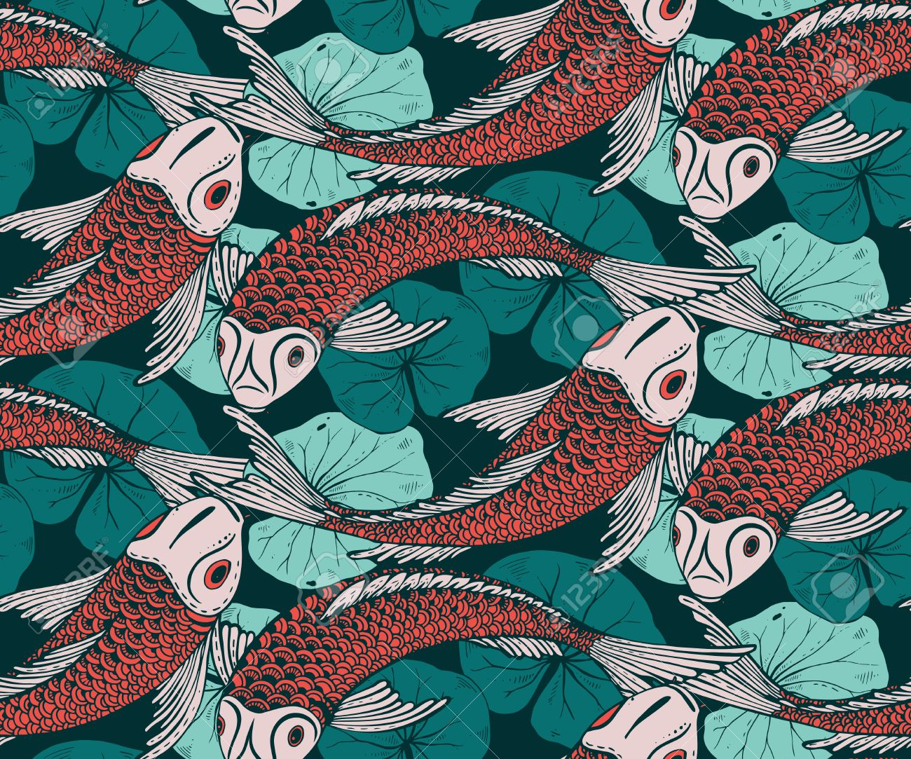 Seamless Vector Pattern With Hand Drawn Koi Fish (Japanese Carp ...