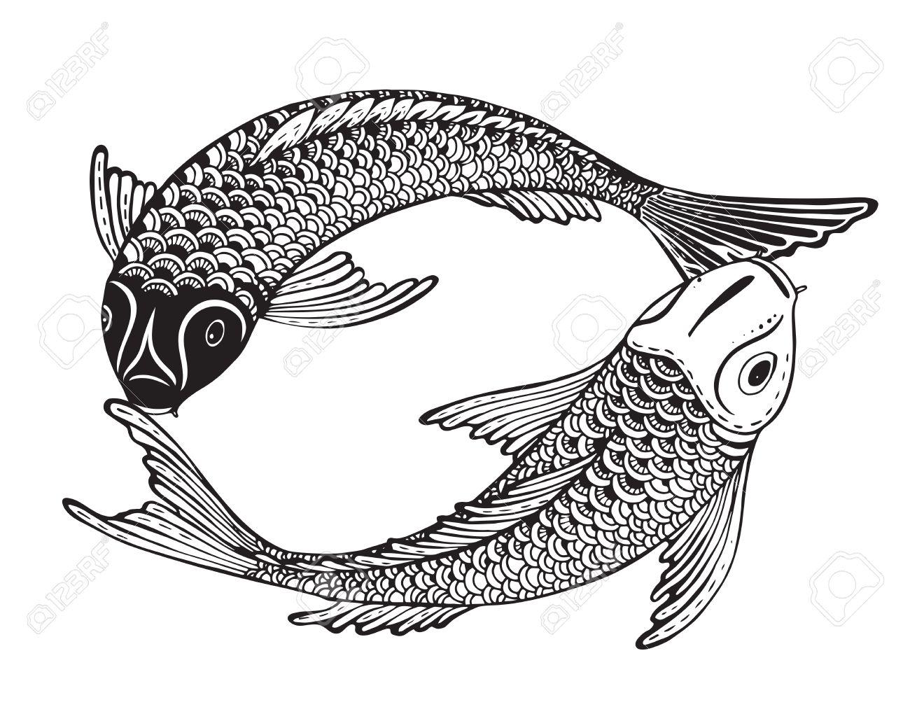 Dessin Carpe Japonaise hand drawn illustration vectorielle de deux poissons koi (carpe