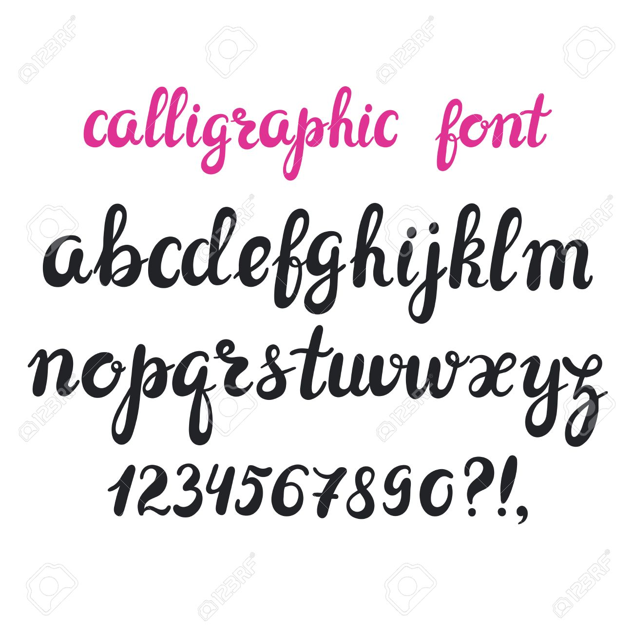 Hand Drawn Brush Pen Calligraphy Cursive Font Modern Alphabet Isolated Letters On