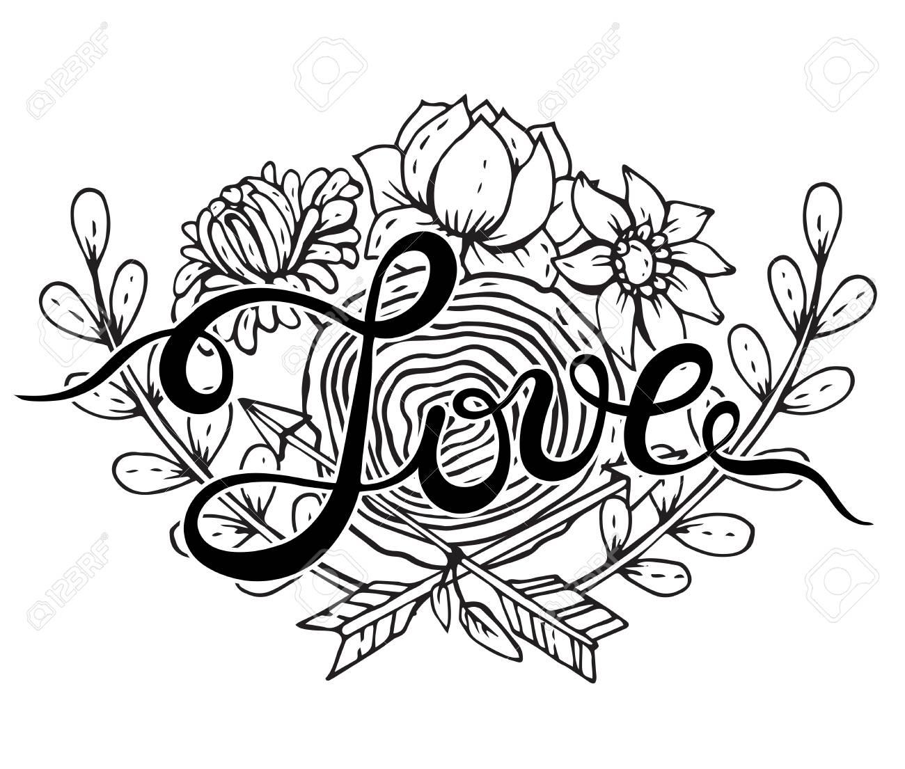 Hand Schriftzug Wort Liebe Mit Hand Gezeichneten Blumenkranz, Baum ...