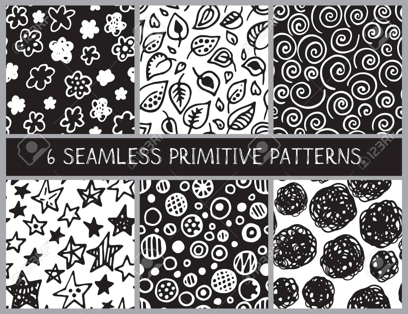 hand drawn black and white doodle seamless patterns set. abstract