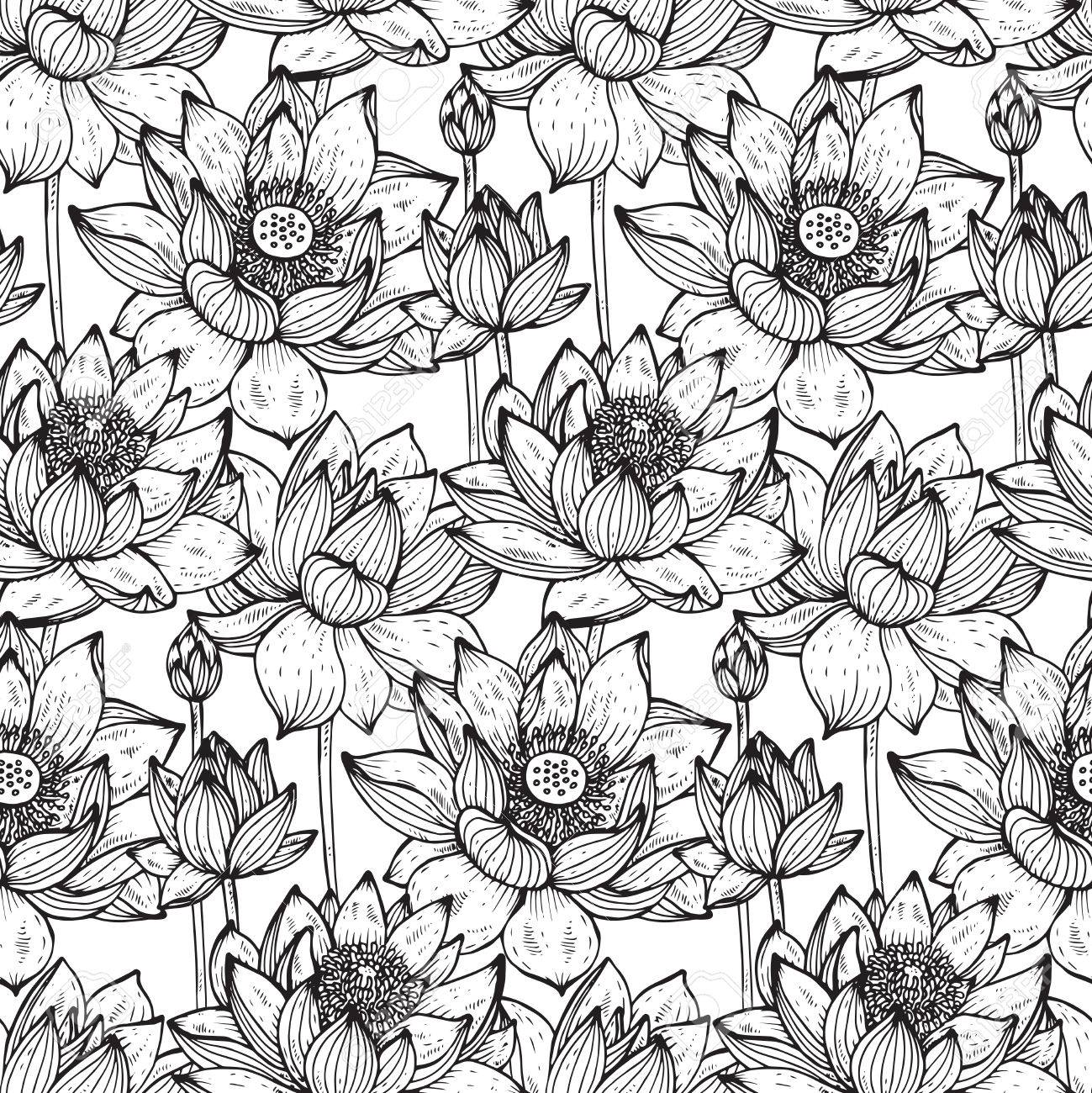 Sin Patrón Floral Con Flores De Loto Y Hojas Dibujadas A Mano Para ...