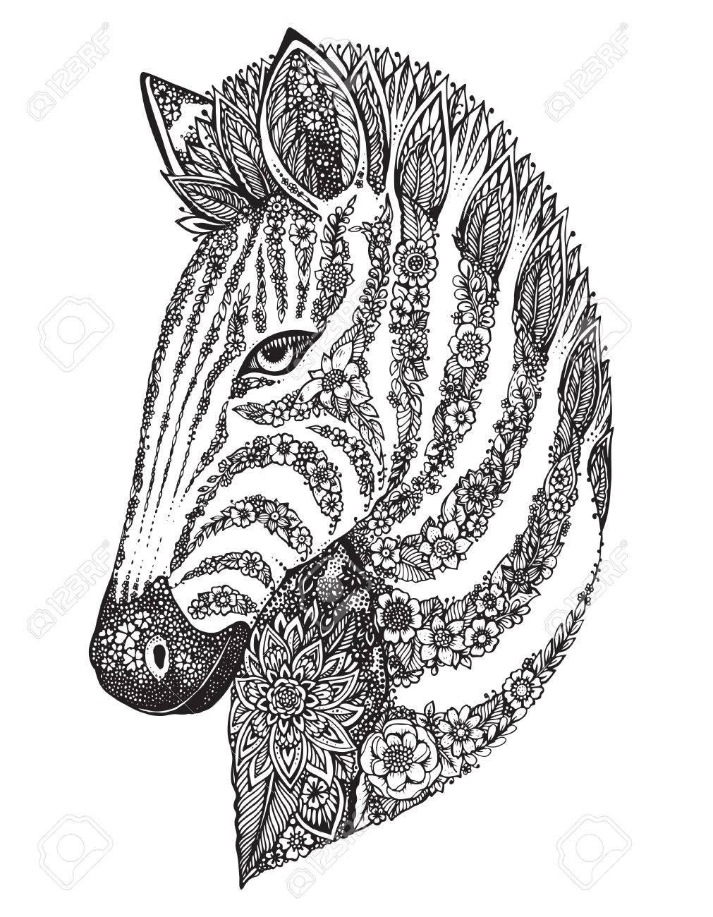 Banque d\u0027images , Hand drawn graphique tête de zèbre orné avec motif floral  ethnique doodle. Vector illustration de livre de coloriage, tatouage,