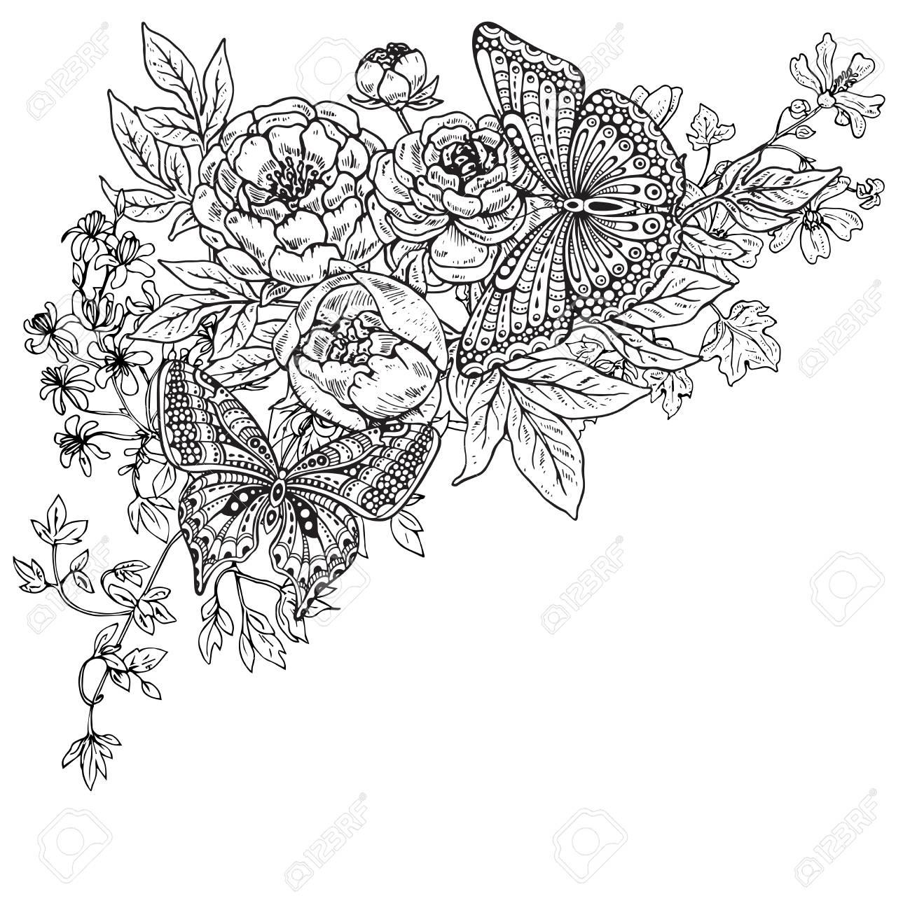 Vector Illustration De Deux Tire Par La Main Papillons Graphiques