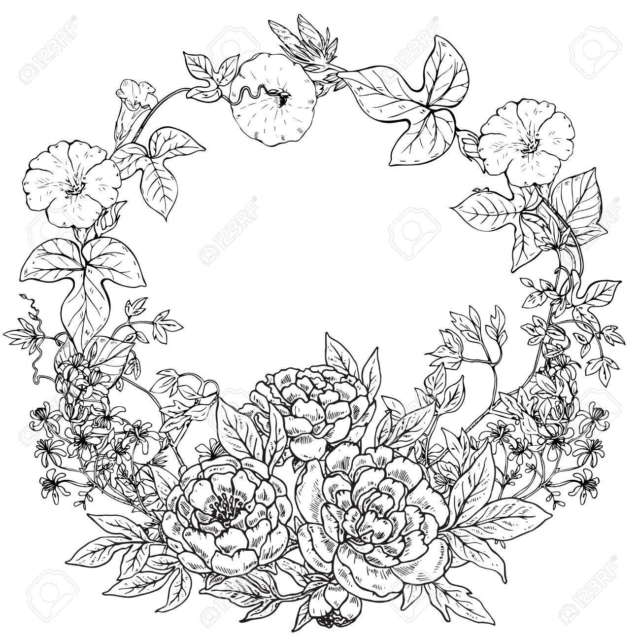 Vector El Marco Con La Guirnalda Dibujada Mano De Las Flores Y De Las Plantas De La Peonía En El Fondo Blanco Marco Gráfico Blanco Y Negro Para