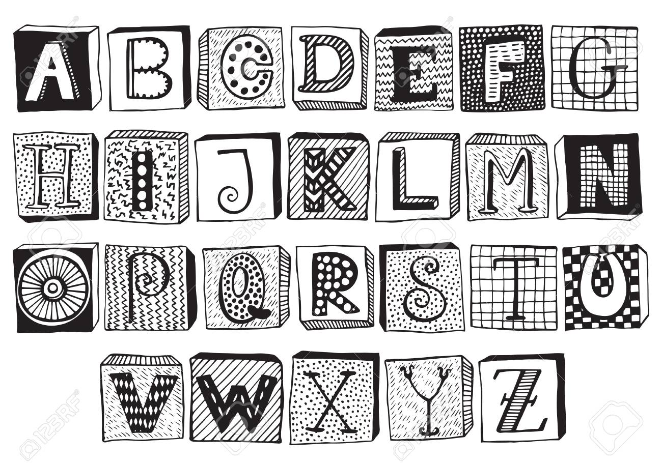Hand Drawn Fancy Alphabet On Blocks Funny Doodle Letters Vector Set Of Black And