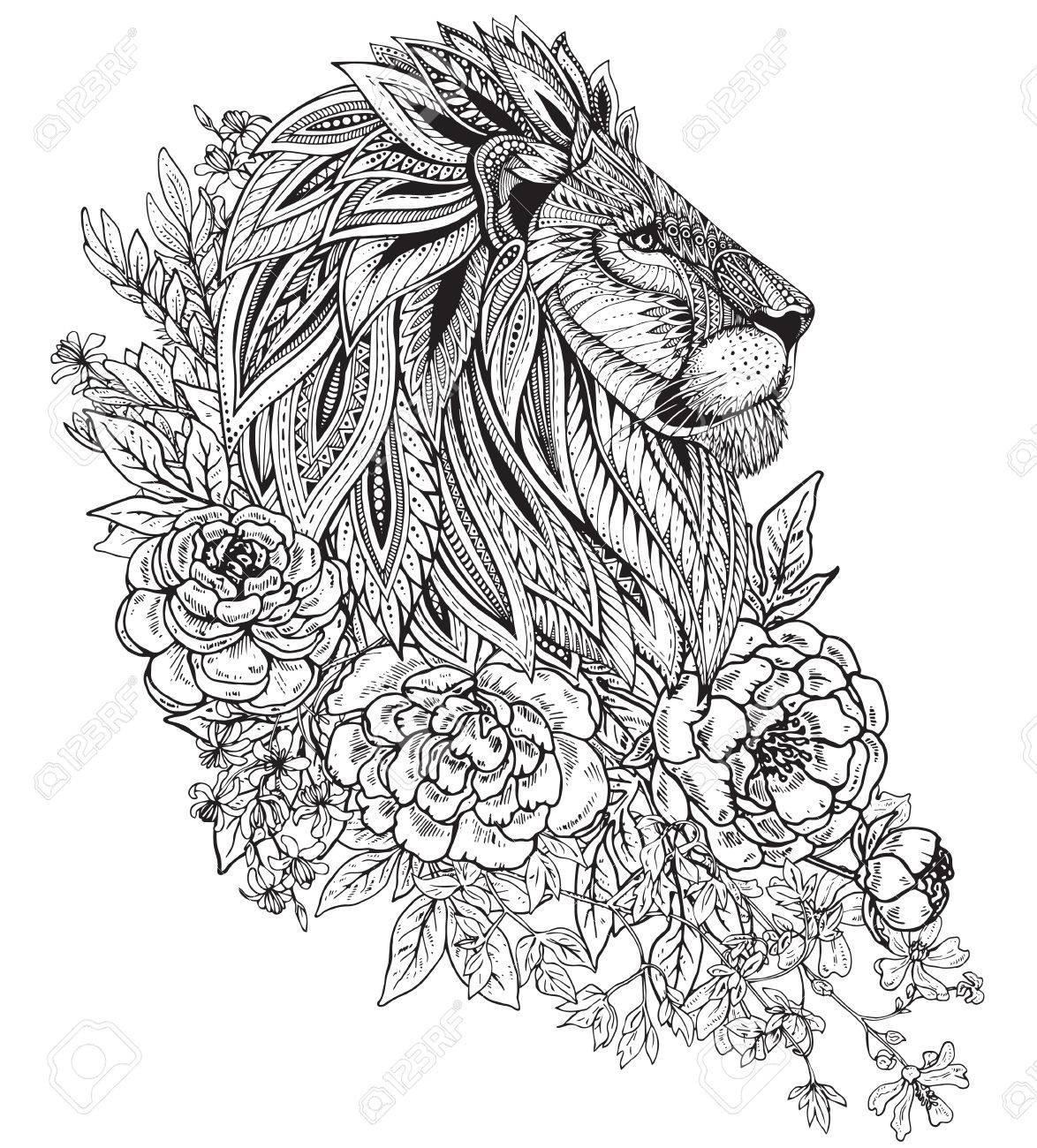 Hand Drawn Graphique Tête Ornée De Lion Avec Motif Ethnique Floral De Griffonnage Pivoines Et D Autres Fleurs Vector Illustration De Livre De