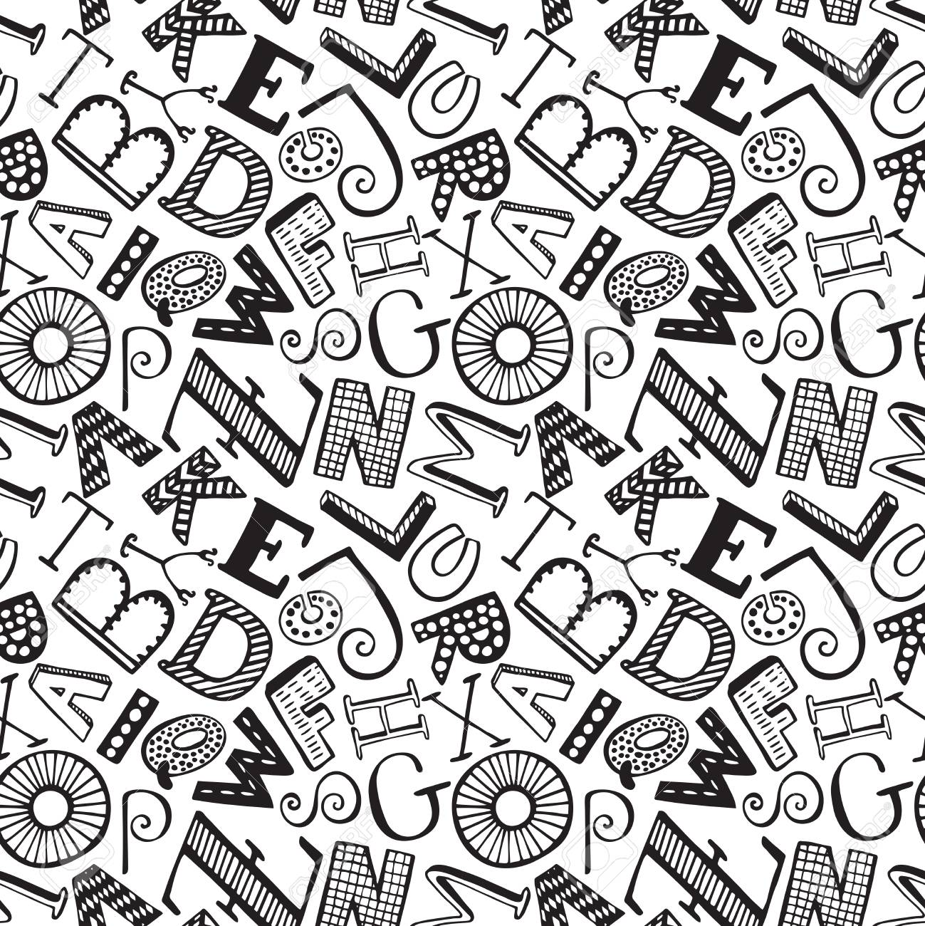 Seamless pattern with hand drawn fancy alphabet funny doodle seamless pattern with hand drawn fancy alphabet funny doodle letters vector endless background with altavistaventures Image collections