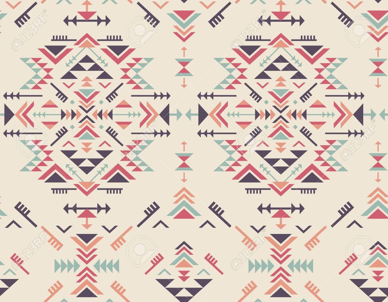 40f857cae Banque d images - Colorful seamless ethnique avec des formes géométriques.  Tribal fleuri fond sans fin abstrait. tissu à la mode élégante.