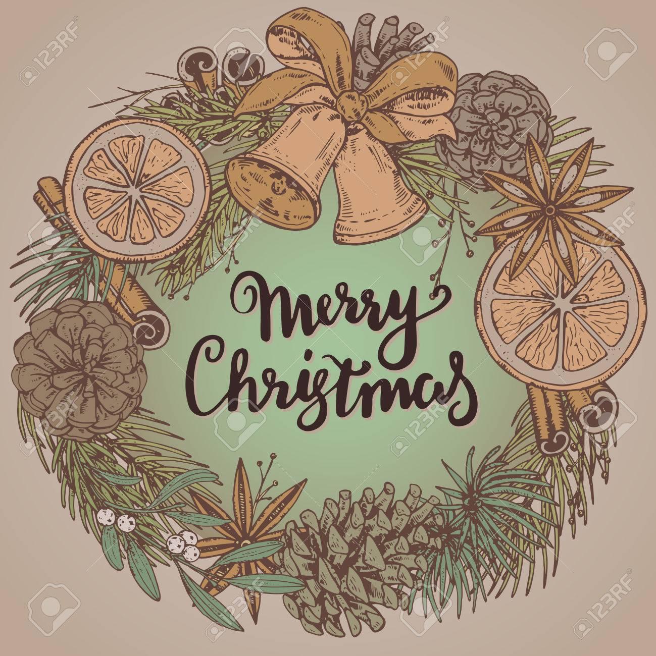 メリー クリスマスと幸せな新年挨拶のカードは手描きの冬の植物、スパイス、鐘。ビンテージ ベクトル イラスト手書きの文字。クリスマス リース