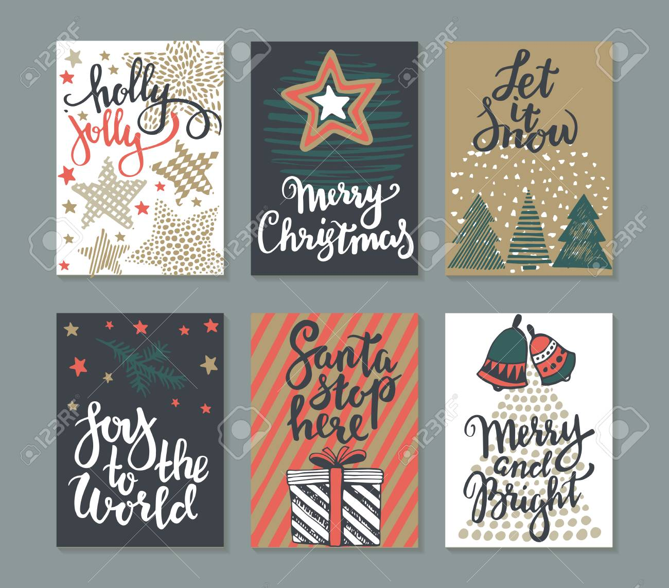 Collection of six christmas cards greeting card set with hand collection of six christmas cards greeting card set with hand drawn xmas tree presents m4hsunfo