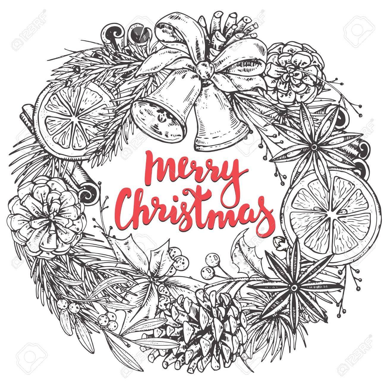 メリー クリスマスと幸せな新年挨拶のカードは手描きの冬の植物、スパイス、鐘。手書き文字で黒と白のベクトル イラスト。クリスマス リース
