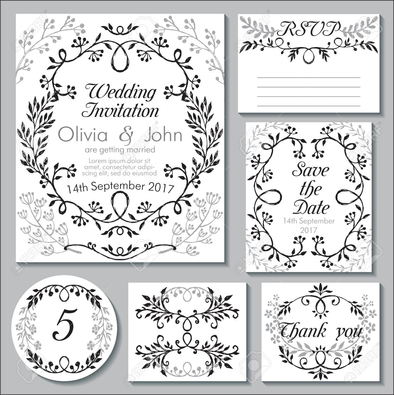 wedding collection templates for invitation thank you card