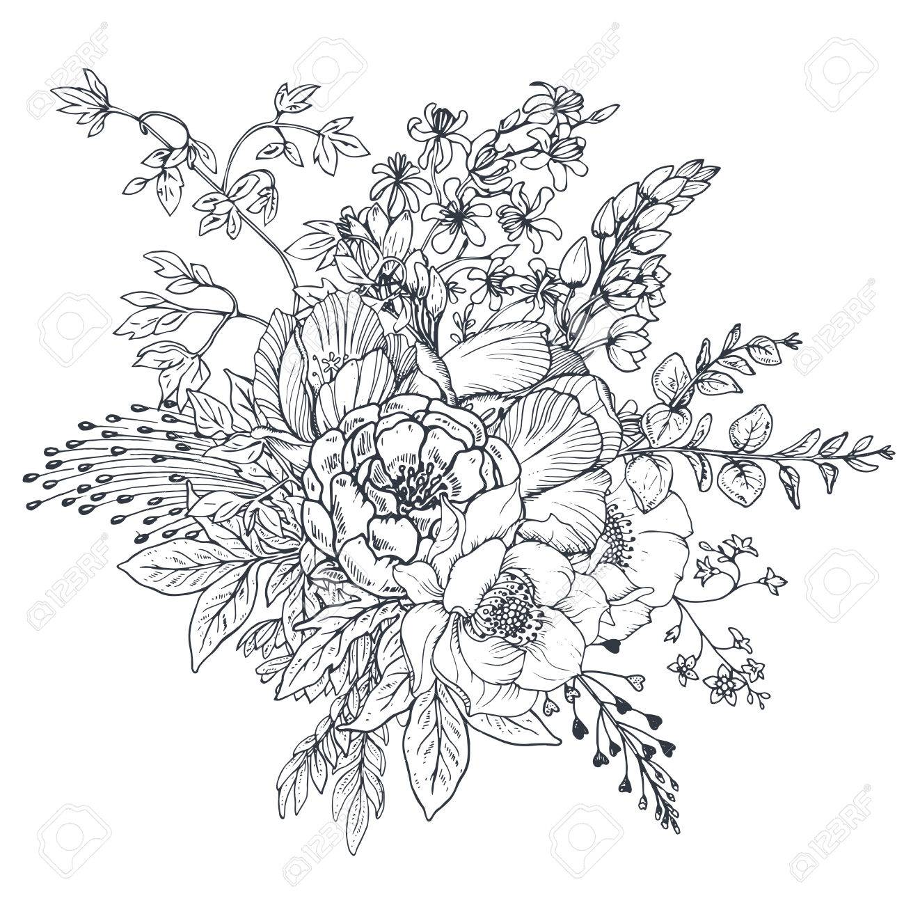 Floral Composition Bouquet With Hand Drawn Flowers And Plants Royalty Free Cliparts Vectors And Stock Illustration Image 71424335