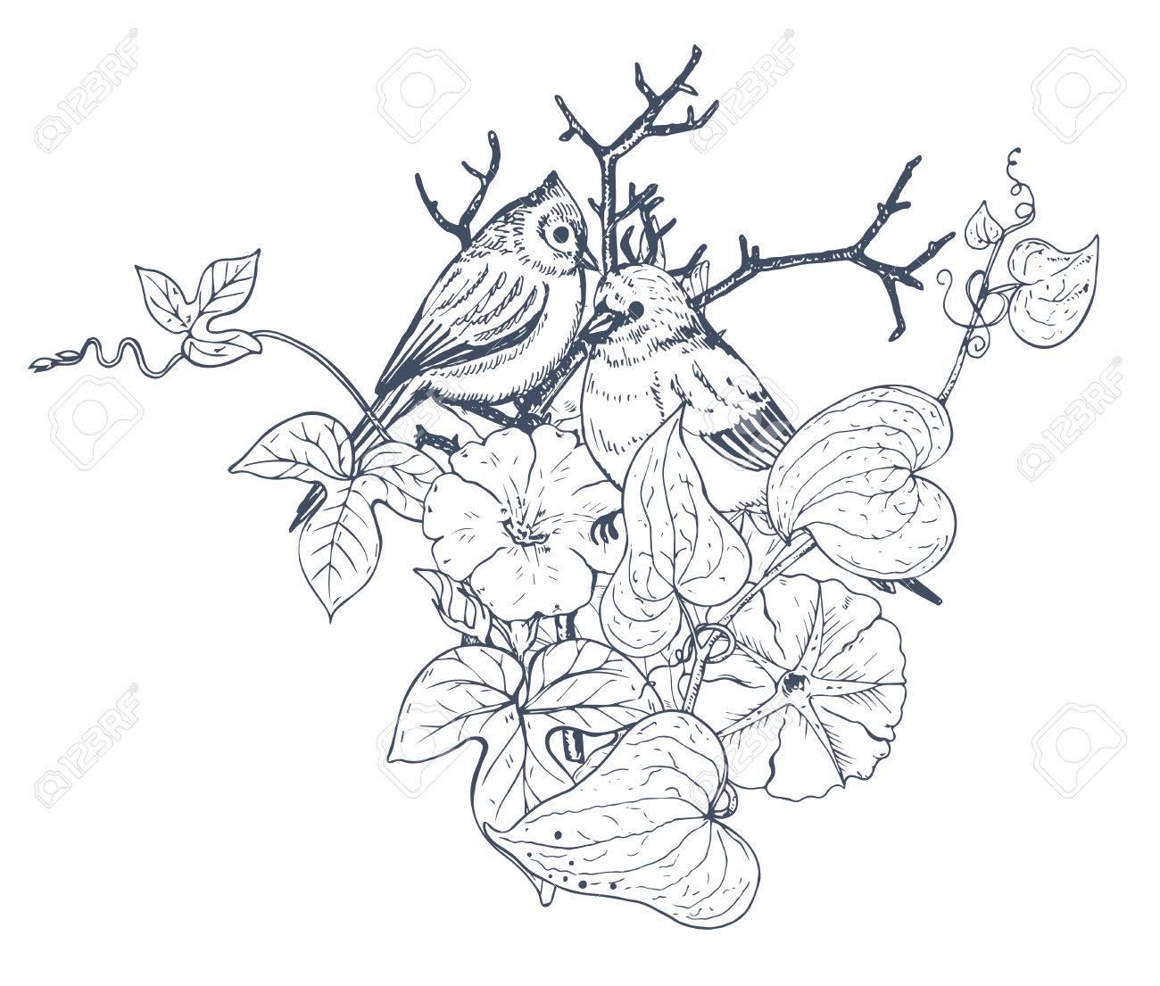 Composición Floral Ramo Con Dibujados A Mano Flores Plantas Y Aves Ilustración Vectorial Blanco Y Negro En El Estilo De Dibujo